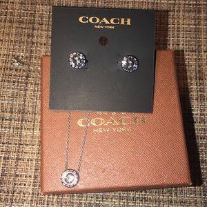 Coach necklace earrings set